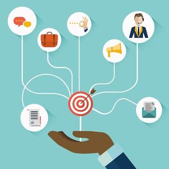 Hand präsentiert customer relationship management