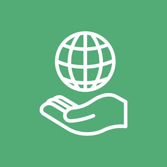 Hand präsentiert globussymbol für unternehmen in einfacher linie simple