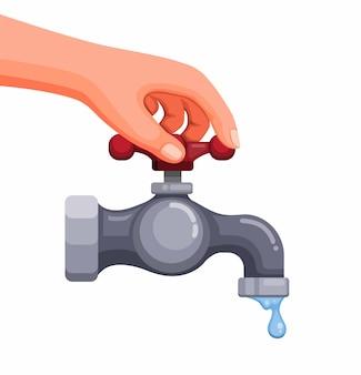 Hand schließen kran, um wasser und ökologisches konzept in der karikaturillustration zu sparen