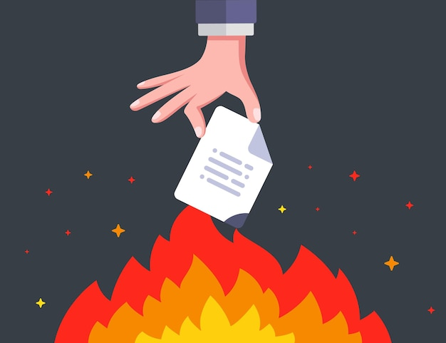 Hand setzt ein wichtiges dokument in brand. informationen für immer zerstören. flache vektorillustration.