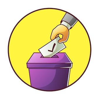 Hand setzt stimmzettel in wahlboxwahl