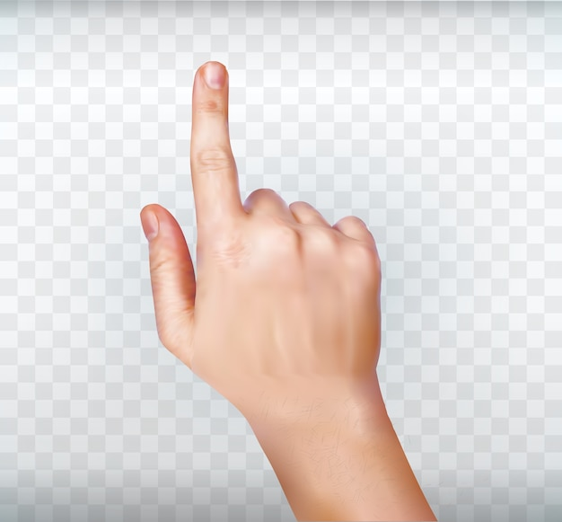 Hand simuliert das drücken einer taste. mannhand, die virtuellen bildschirm berührt. mannhand, die virtuellen bildschirm berührt. hand berührt oder zeigt auf etwas
