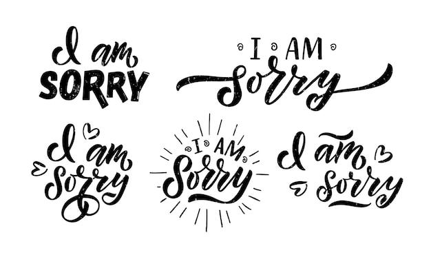 Hand skizziert es tut mir leid, schriftzug typografie handgeschriebenes inspirierendes zitat es tut mir leid hand gezeichnet