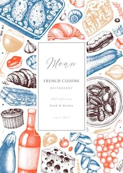 Hand skizzierte französische küche picknick flyer vorlage. delikatessen essen und getränke trendigen hintergrund. perfekt für rezept, menü, etikett, symbol, verpackung. vintage französische speise- und getränkeschablone.