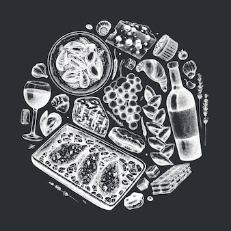 Hand skizzierte französische lebensmittel- und getränkeillustration auf tafel. trendige komposition der französischen küche. perfekt für rezept, menü, etikett, symbol, verpackung. vintage essen und getränke vorlage.