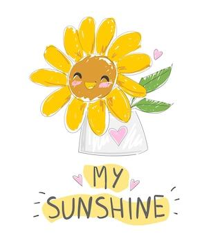 Hand skizzierte niedliche blumenillustration der sonnenblume mit schriftzug mein sonnenschein