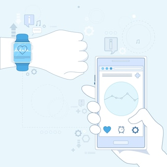 Hand smart watch herz pulsmesser symbol vektor-illustration