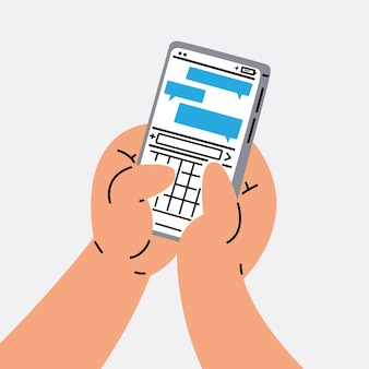 Hand-sms mit smartphone-vektor-illustration
