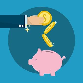 Hand sparen münzen im schwein