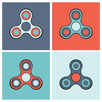 Hand spinner bunte icon-set
