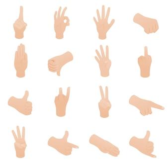 Hand stellte in die isometrische art 3d ein, die auf weißem hintergrund lokalisiert wurde