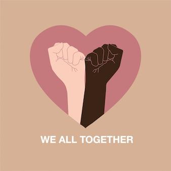 Hand symbol für schwarze leben materie protest, um gewalt gegen schwarze menschen zusammen mit herzform, formulierung zu stoppen