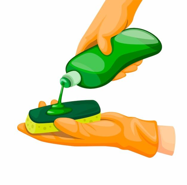 Hand tragen gummihandschuhe gießen geschirrspülmittel auf schwamm, in cartoon realistic illustration