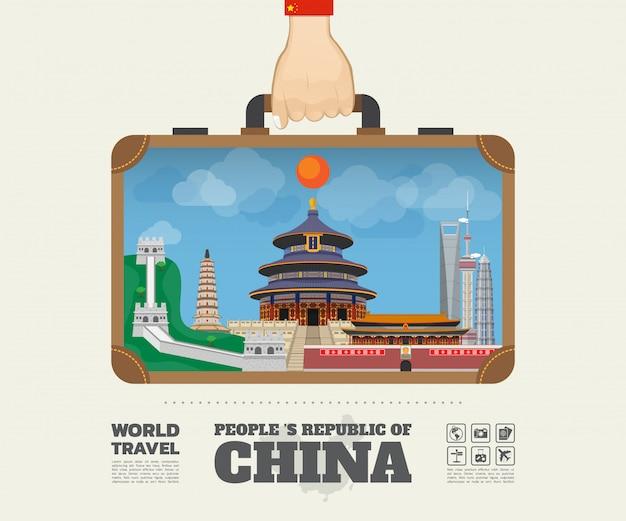 Hand tragende porzellanmarkstein-globale reise und reise infographic-tasche.