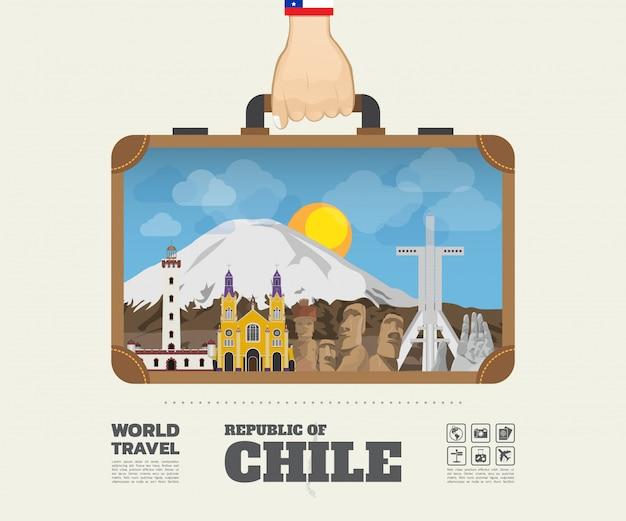 Hand tragender chile-markstein-globale reise und reise-infographik-tasche.
