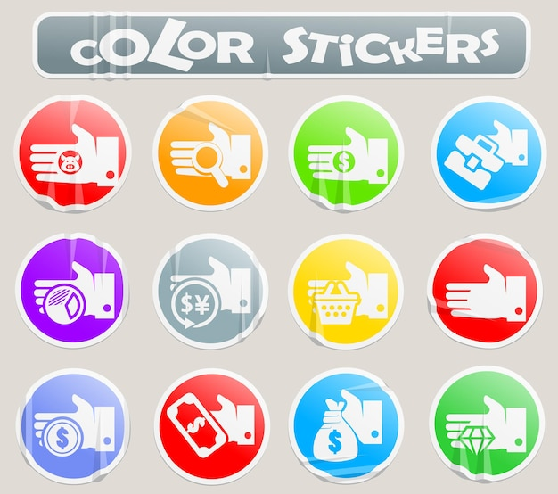 Hand- und geld-web-symbole auf papieraufkleber für ihr design