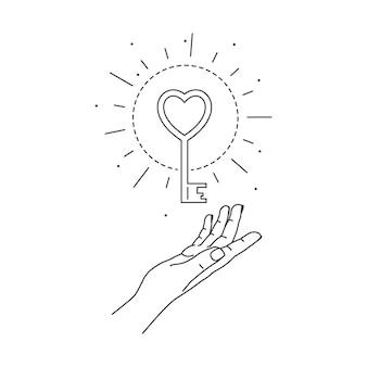 Hand und mystische liebe schlüssellinie kunst boho symbol feminine geste mystisches konzept