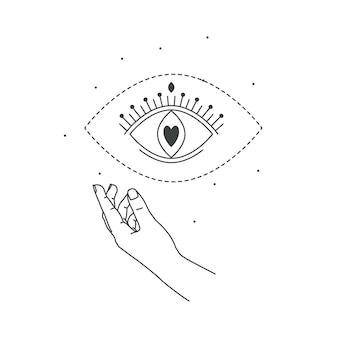 Hand und mystisches auge lieben magie. strichzeichnungen stil.