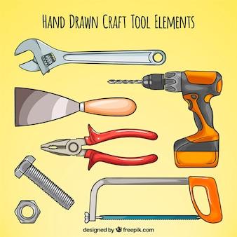 Hand verschiedene tischlerwerkzeug gezogen