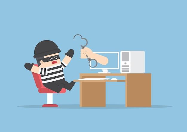 Hand vom monitor aus, um hacker zu fangen