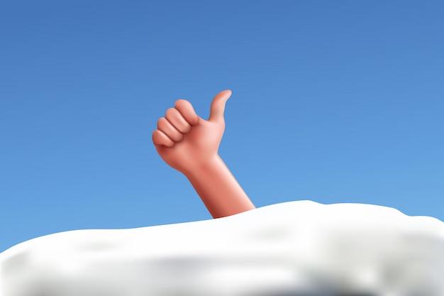 Hand vom schnee