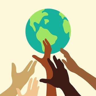 Hand von menschen mit unterschiedlichen hautfarben, die erde globus symbol symbol flache vektor illustration anheben