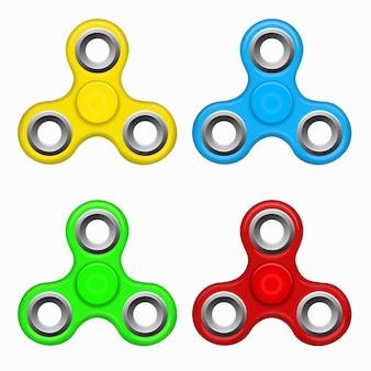 Hand zappeln spinner spielzeug - stress und angst. gelb rot. blauer, grüner bunter spinner. modernes kinderspielzeug - gelb, rot. blauer, grüner spinner.