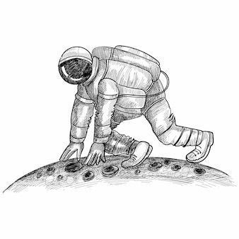 Hand zeichnen astronauten-kosmonauten in einem raumskizzenentwurf