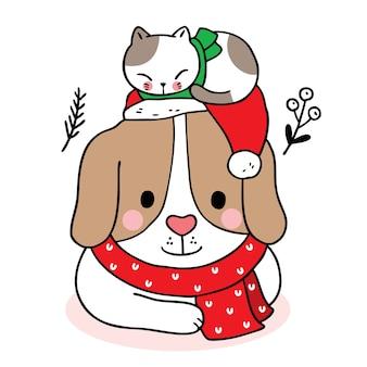Hand zeichnen cartoon niedlich frohe weihnachten