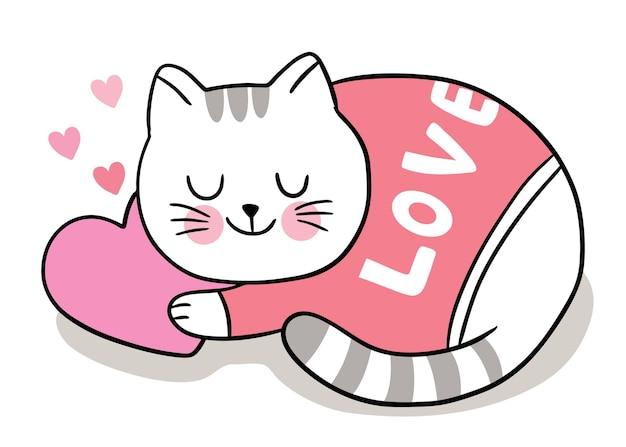 Hand zeichnen cartoon niedlich für valentinstag mit katze schläfrig auf herz