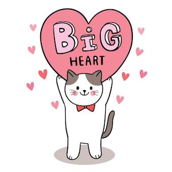 Hand zeichnen cartoon niedlichen valentinstag, katze und großes herz