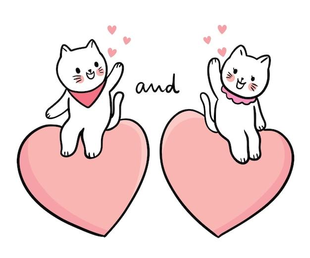 Hand zeichnen cartoon niedlichen valentinstag, katzen sitzen auf dem großen herzen