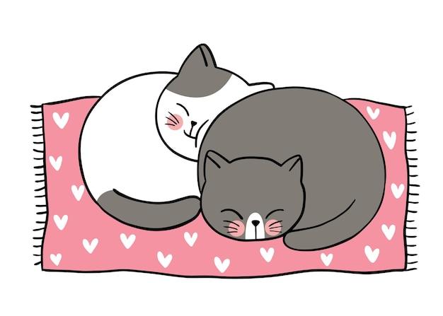 Hand zeichnen cartoon niedlichen valentinstag, paar katzen schläfrig