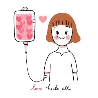 Hand zeichnen cartoon niedlichen valentinstag, traurigkeit frau und viele herz