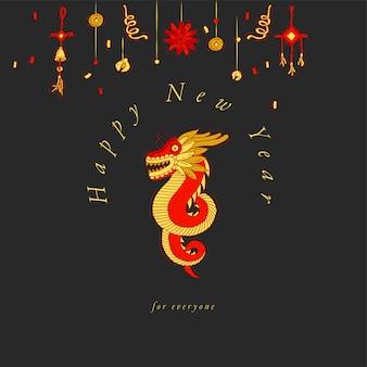 Hand zeichnen design für chinesische neujahrsgrußkarte bunte farbe. typografie und symbol für weihnachtshintergrund, banner oder poster und andere ausdrucke. traditionelle feiertagsdekorationsgegenstände.