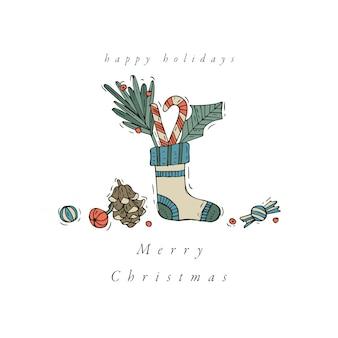 Hand zeichnen design für weihnachtsgrußkarte bunte farbe. typografie und symbol für weihnachtshintergrund, banner oder poster und andere ausdrucke. designelemente der winterferien.
