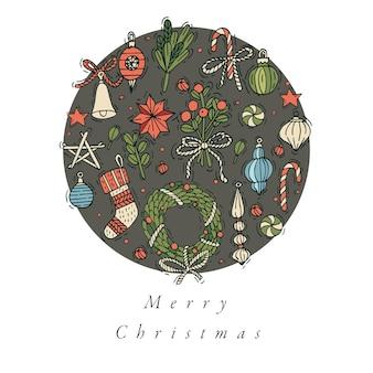 Hand zeichnen design für weihnachtsgrußkarte bunte farbe