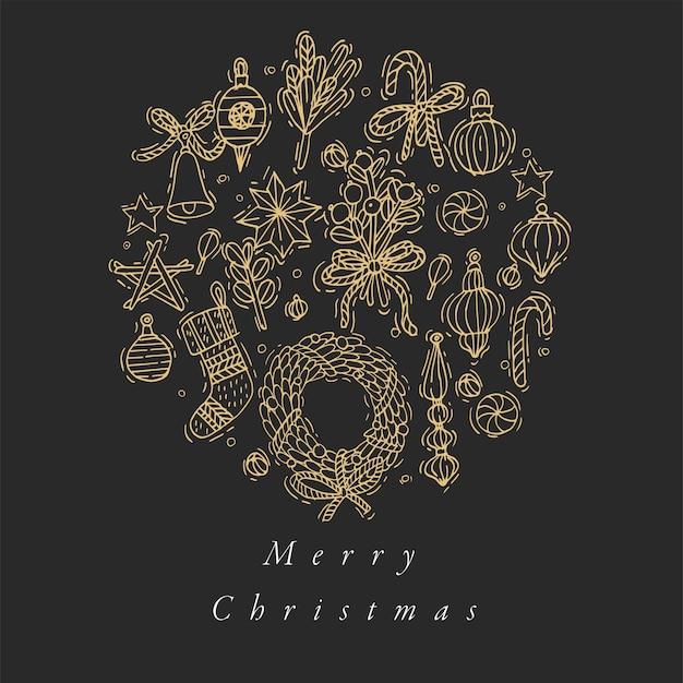 Hand zeichnen design für weihnachtsgrußkarte