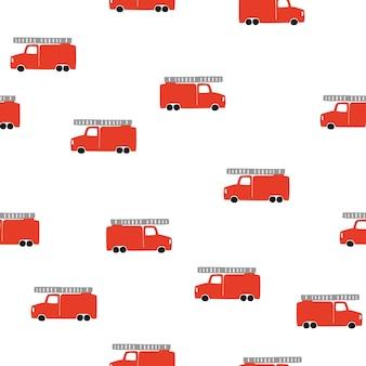Hand zeichnen ein nahtloses muster des feuerwehrautos. vektor boyish hintergrund im skandinavischen stil. rotes feuer nette autos, isolated on white background. druck für kinder t-shirt, textil, verpackung, bezug
