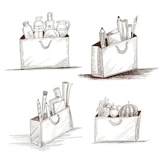 Hand zeichnen einkaufstasche skizze set design