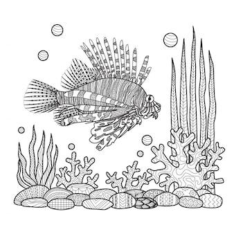 Hand zeichnen fisch hintergrund
