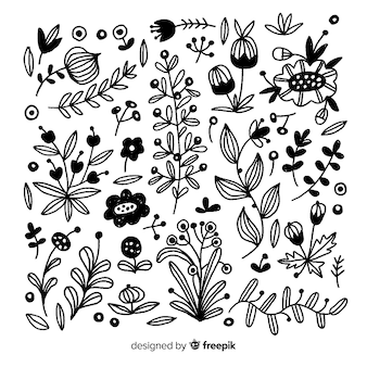 Hand zeichnen florale dekorationselemente