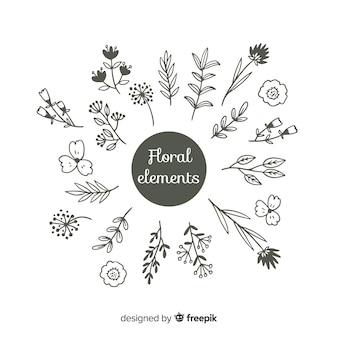 Hand zeichnen florale farblose dekorationselemente