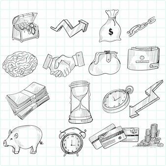 Hand zeichnen gekritzel skizze symbol set design