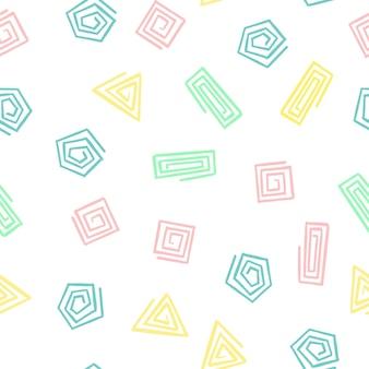 Hand zeichnen geometrische formen spiral nahtlose muster. vektor endloser hintergrund von dreiecken, quadraten, kreisen in pastellfarben baby pink, mint, gelb, blau für die verpackung baby textil, druck.