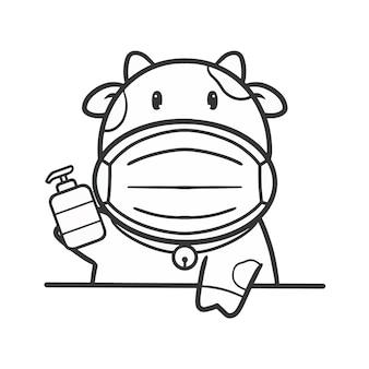 Hand zeichnen geschnittene kuh mit maske und alkoholgel