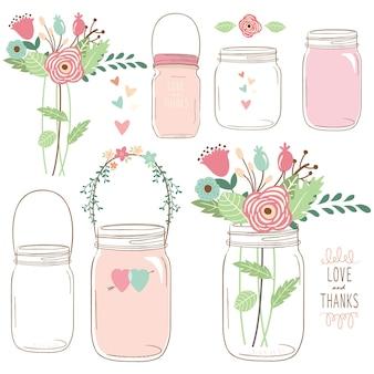 Hand zeichnen hochzeitsblume einmachglas