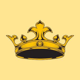 Hand zeichnen illustration krone gravur stil
