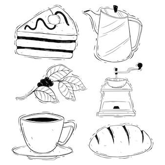 Hand zeichnen kaffeepause mit stück kuchen auf weißem hintergrund