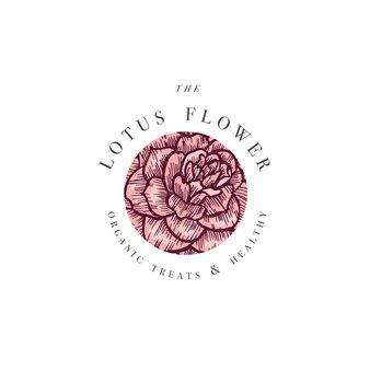 Hand zeichnen kamelienblumen logo illustration. blumenkranz. botanisches blumenemblem mit typografie auf weißem hintergrund.